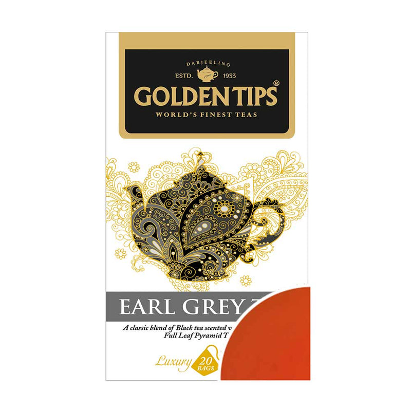 Earl Grey Full Leaf Pyramid - 20 Tea Bags, 40g - Pack of 2 - Golden Tips