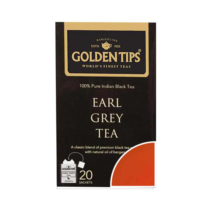 Earl Grey Black Envelope Tea - 20 Tea Bags (40gm) - Pack of 4 - Golden Tips