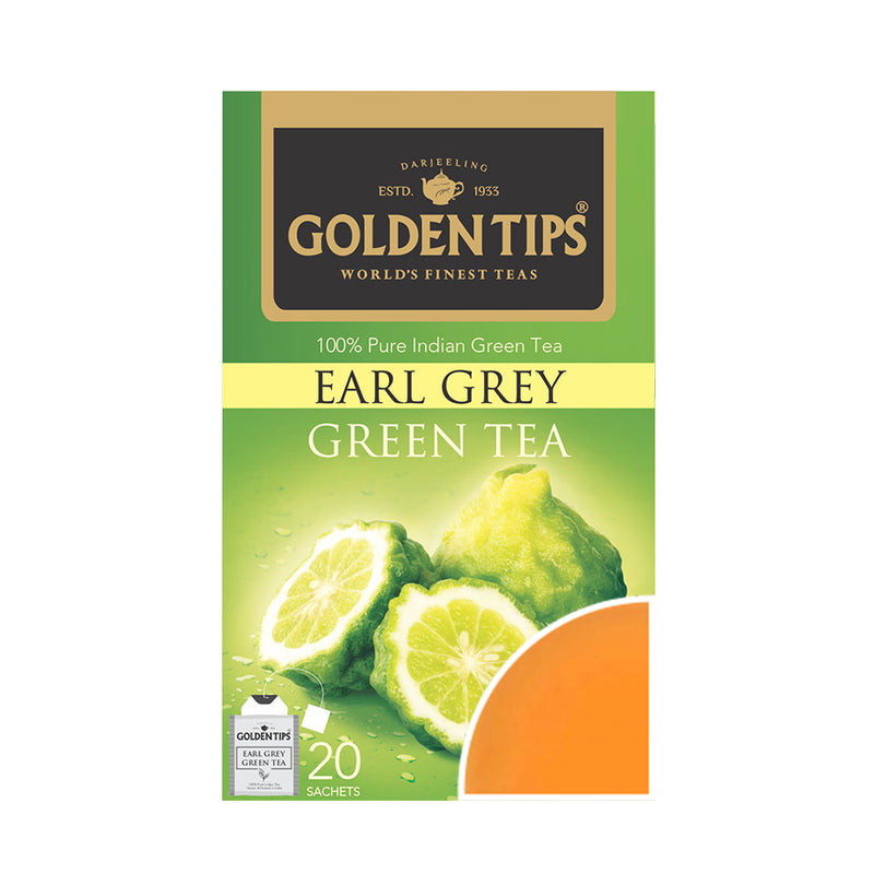 Earl Grey Green Envelope Tea - 20 Tea Bags (40gm) - Pack of 4 - Golden Tips