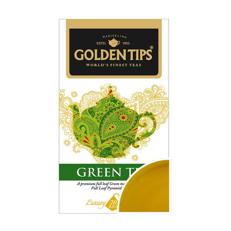 Green Full Leaf Pyramid - 20 Tea Bags, 40g - Pack of 2 - Golden Tips