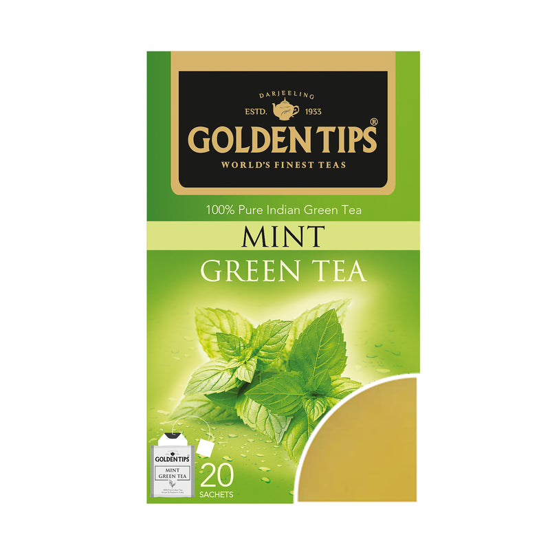 Mint Green Envelope Tea - 20 Tea Bags (40gm) - Pack of 4 - Golden Tips