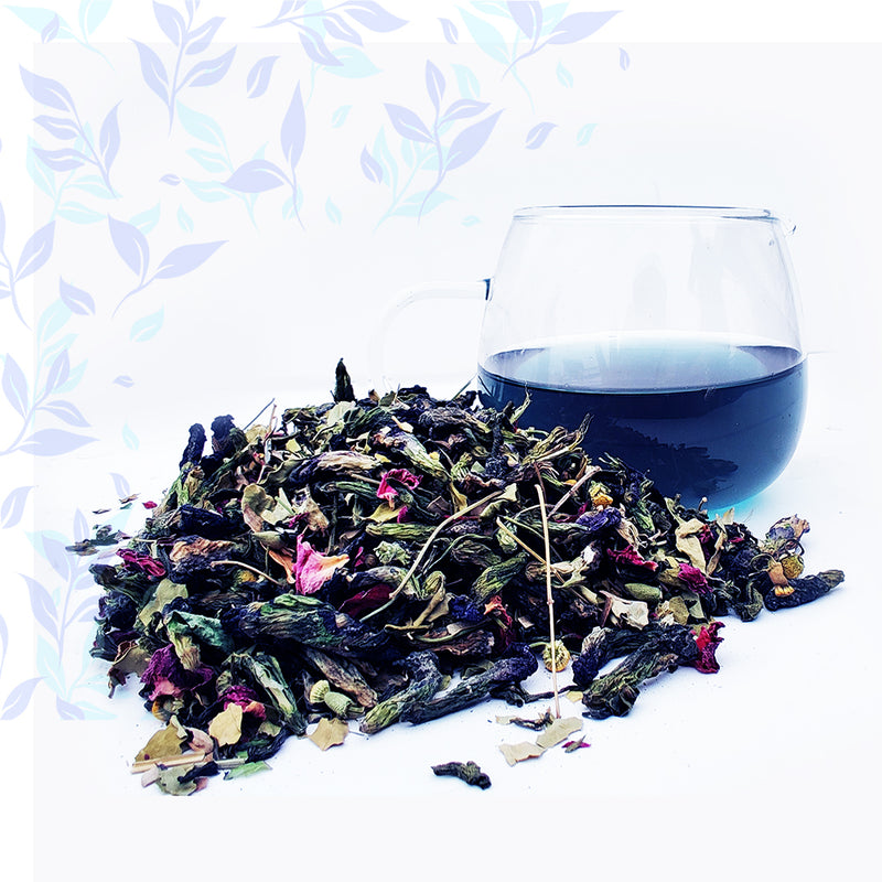 BLUE TEA - Butterfly Pea Flower Herbal Tea, Empyrean Azure Green Tea - Golden Tips