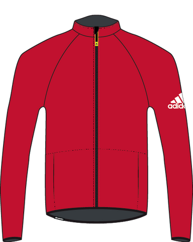 Red Adidas Baltic Microfleece with YKK reversed front zipped and white adidas logo on the right arm