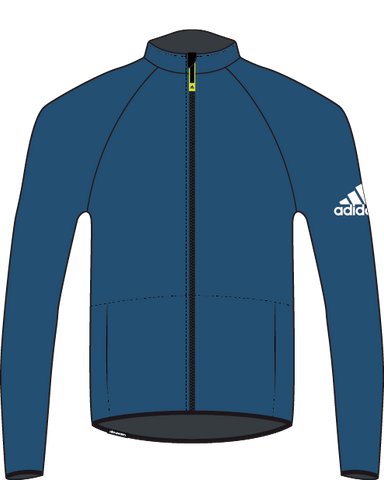 Blue Adidas Men's Baltic Microfleece with YKK reversed front zipper with white adidas logo on the right arm