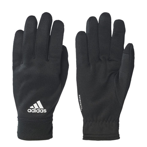 Two black Adidas climawarm gloves with white adidas logo on the left one