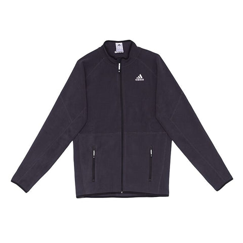 Black adidas microfleece full zip with white adidas logo on chest for sailing, SUP, Canoeing