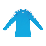 Back of blue Adidas core performance top with white lining from shoulders and white adidas logo