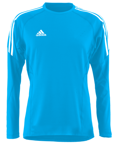 Blue adidas core performance top with white lining on the shoulders and white adidas logo on the left side of the chest