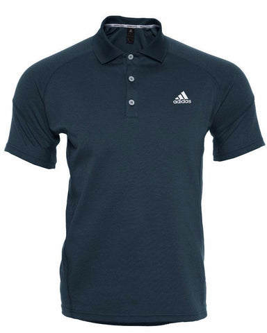 Black adidas Polo shirt with button-neck and white adidas logo on the chest