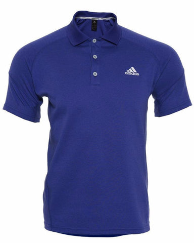 Blue adidas Polo shirt with button-neck and white adidas logo on the chest