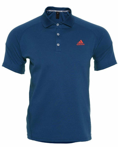 Blue adidas Polo shirt with button-neck and red adidas logo on the chest