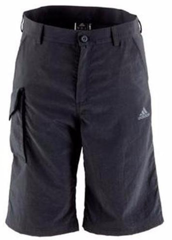 Black adidas harbour shorts for stand-up paddling (SUP), sailing with white adidas logo on the right leg