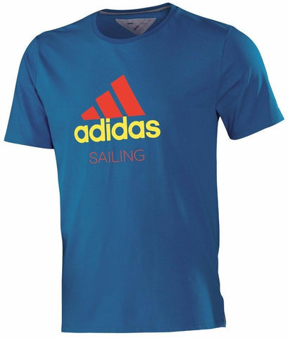 Blue adidas performance shirt with red - yellow adidas logo with sailing written underneath it