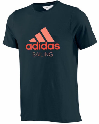 black adidas performance shirt with red adidas logo with sailing written underneath it