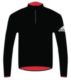 Black adidas harbour microfleece with red fleece for sailing and white adidas logo