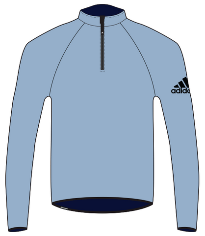 Blue adidas harbour microfleece with black adidas logo on the right arm for standup paddling, sailing