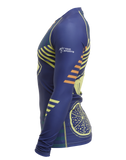 Side view of Vegan Citron Burst Trashee Rashguard made from Recycled Ocean Waste