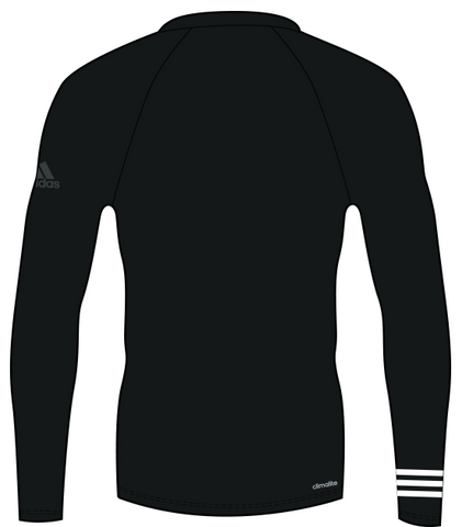 Black adidas 100% recycled polyester harbour shirt with white lining on the right arm