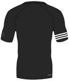 Back of Black adidas 100% recycled polyester harbour shirt with white lining on the right arm