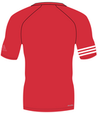 Back of red adidas 100% recycled polyester harbour shirt with white lining on the right arm