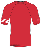 Red adidas 100% recycled polyester harbour shirt with white lining on the right arm