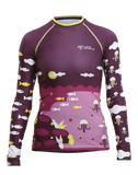 Front view of Colorful Youth Recycled Polyester Trashee Rashguard made from Ocean Waste