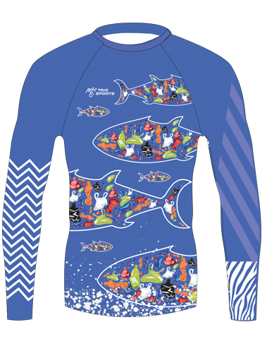 Front view of Youth Plastique Trashee Rashguard made from Ocean Waste