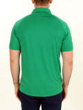 Back of a man wearing green recycled bermuda polo