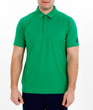 Man wearing green Adidas recycled bermuda polo