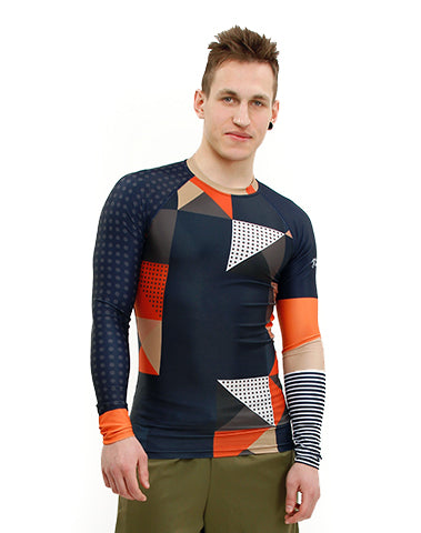 Fit Man wearing Cube Vegan Trashee Rashguard made from Recycled Ocean Waste