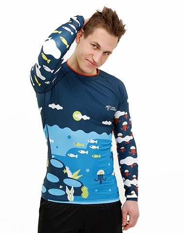 Front view of Trio Sports Colorful Men's Recycled Polyester Trashee Rashguard made from Ocean Waste on Male Model