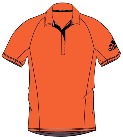 Orange Vegan Adidas Bermuda Performance polo with black adidas logo on the right arm made of 100% Recycled Polyester