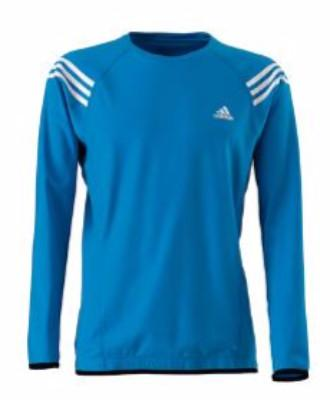 Blue adidas Men's Baltic Mid-Layer Top with white stripes on shoulders and white adidas logo on the chest