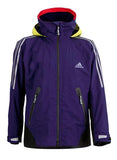 Dark Blue Adidas Sailing Atlantic Short Jacket with yellow stripes and adidas logo on the right side of the chest