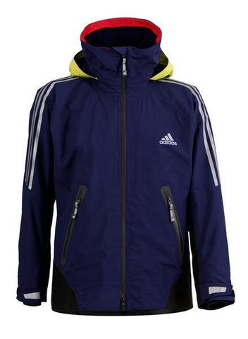 Black Adidas Sailing Atlantic Short Jacket with yellow stripes and adidas logo on the right side of the chest