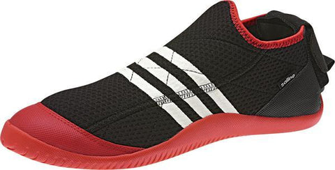 Black Adipower Trapeze shoe with red sole and 3 white stripes on the middle