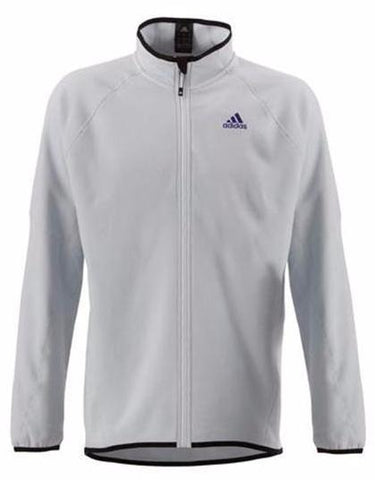 Grey adidas microfleece full zip with black adidas logo on chest for sailing, SUP, Canoeing