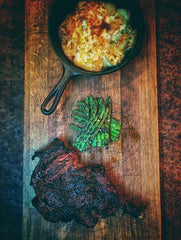 BBQ steak and dauphinoise potatoes