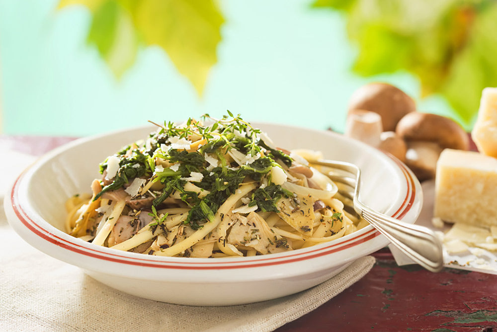 Linquine with Lemon, Garlic and Thyme Mushrooms