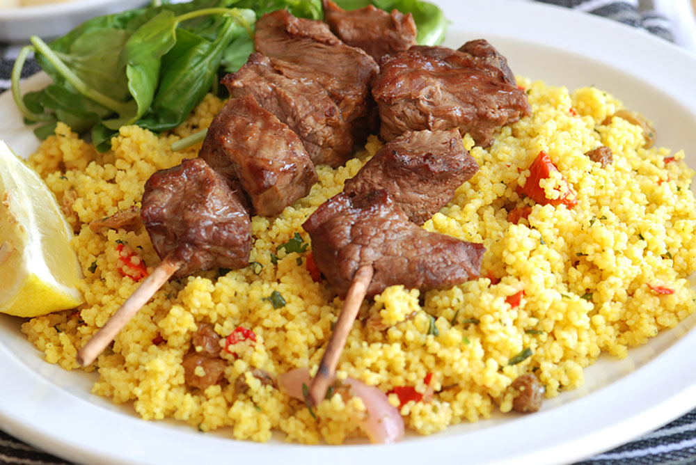 Moroccan Pork Kebabs with Couscous