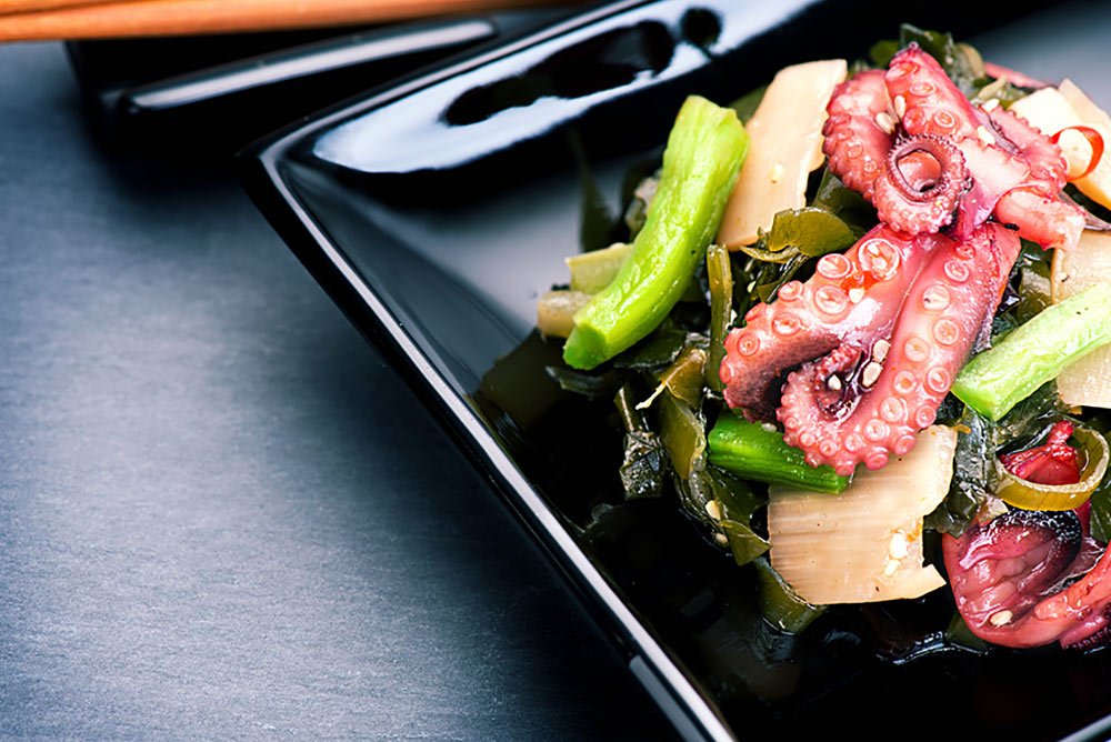 BABY octopus salad with napa slaw and lime dressing