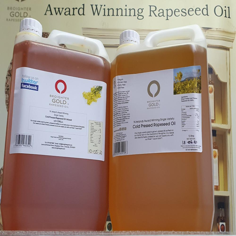 5 litre Catering size Natural & Infused Rapeseed Oil Broighter Gold Rapeseed Oil buy online uk ireland cotswold gold yorkshire rapeseed oil