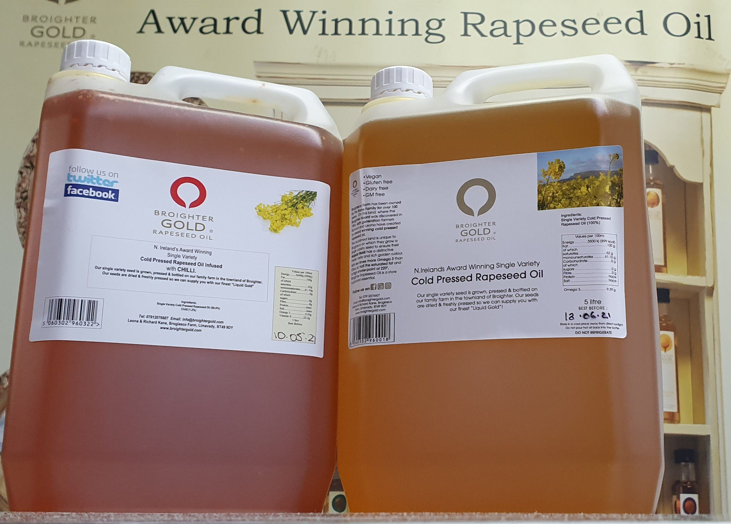 5 litre Catering size Natural & Infused Rapeseed Oil Broighter Gold Rapeseed Oil