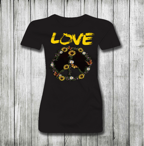 LOVE AND PEACE WOMEN SHORT SLEEVE T-SHIRT