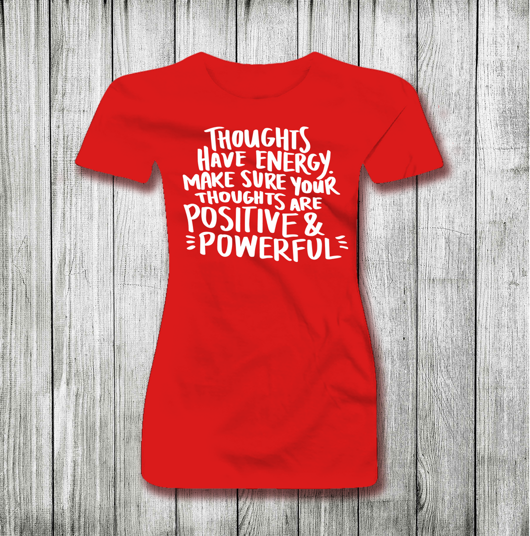 THOUGHTS HAVE ENERGY YOGA-FITNESS WOMEN SHORT SLEEVE T-SHIRT
