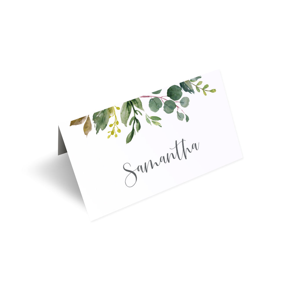 Botanical Garden Place Cards, Watercolour Foliage, Greenery, Eucalyptus Invites, Green Wreath, Botanical Wedding, Personalised Place Cards, Place Settings, 20 Pack