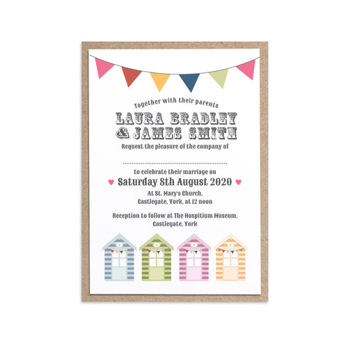 Beach Hut Wedding Invitations, Beach Wedding, Seaside Wedding, Bunting, Nautical Wedding, Colourful Beach Huts, Coastal Wedding, 10 Pack