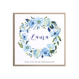Blue Floral Will you be my Bridesmaid card, Maid of Honour, Blue Watercolour flowers, Baby Blue, Pastel Blue Wedding