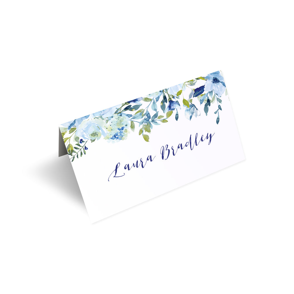 Blue Floral Place Cards, Seating Cards, Place Settings, Blue Watercolour flowers, Baby Blue, Pastel Blue Wedding, 20 Pack