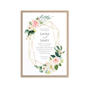 Blush and Gold Wedding Invitations, Geometric Frame, Pink Watercolour flowers, Blush Wedding, 10 Pack